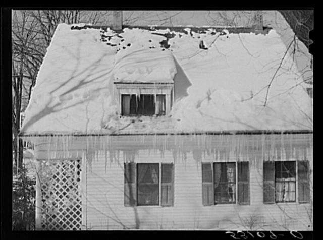 Icicles on roof of home in Woodstock, Vermont