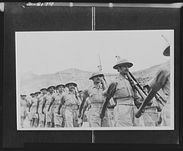 Indian troops in East Africa. A detachment from one of the Punjab regiments take up their position for the guard of honour for the march past the captured Italians from Amba Alagi area