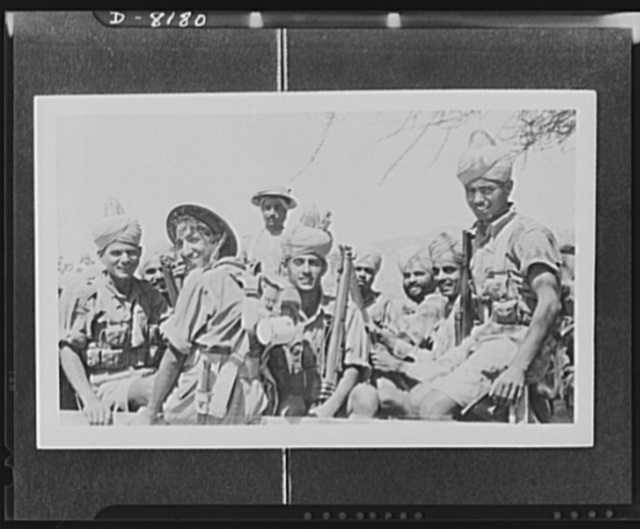 Indian troops in East Africa. This photo illustrates the activities of Indian troops during the operations which led to the capture of Keren. Sikhs and Dogras, fine fighting men, going up to the front line