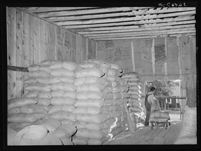 Interior of bean warehouse. Pie Town, New Mexico