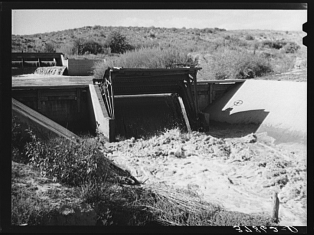 Irrigation gate of canal. Bernadillo County, New Mexico