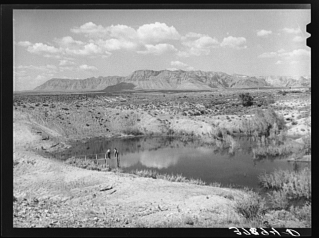 Irrigation water reservoir of FSA (Farm Security Administration) clients. Washington County, Utah