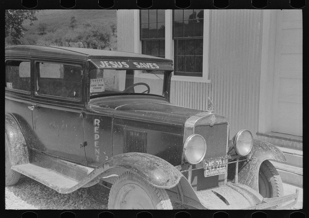 Itinerant preacher's car in Campton, Kentucky
