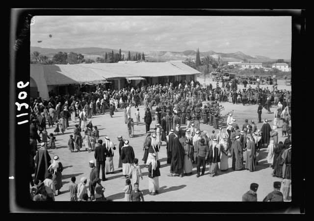 Jericho entertainment by the Palestine Broadcasting Service. Gathering in the Jericho Square