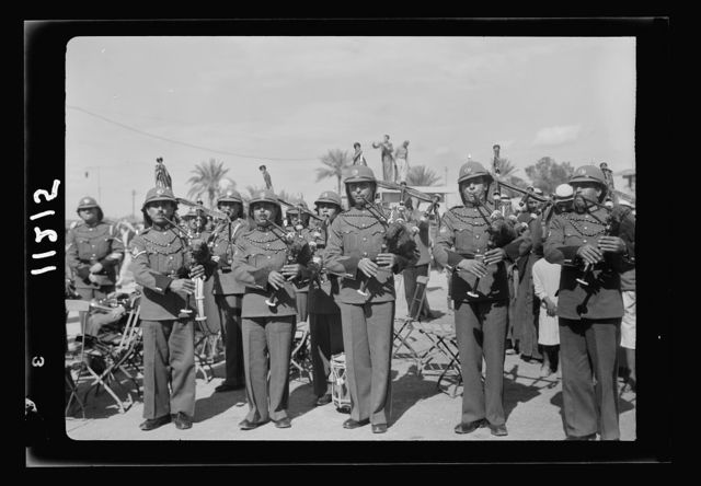 Jericho entertainment by the Palestine Broadcasting Service. The Arab Legion playing Scottish bagpipes
