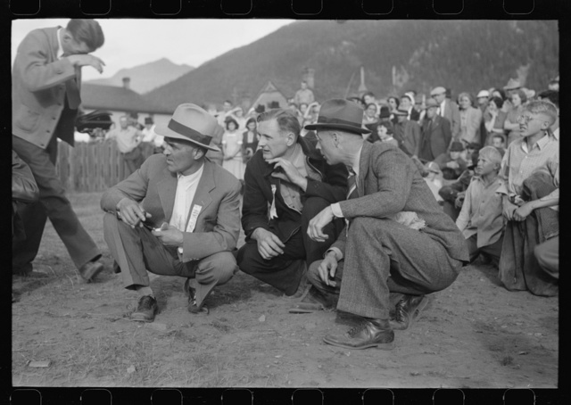 Judges at the miners drilling contest, Labor Day celebration, Silverton, Colorado