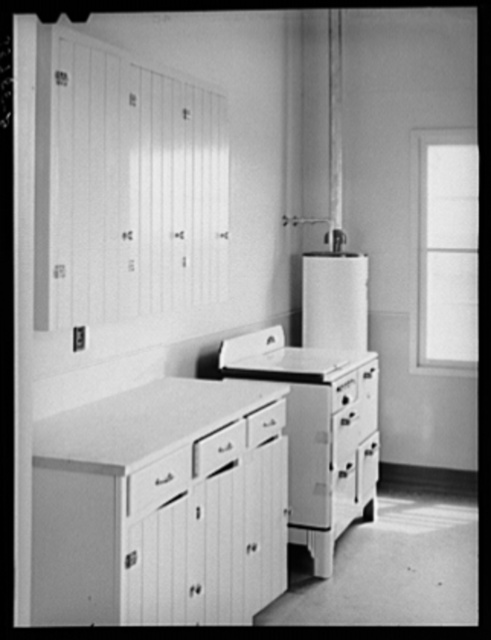 Kitchen in the community building at the migratory labor camp. Robstown, Texas
