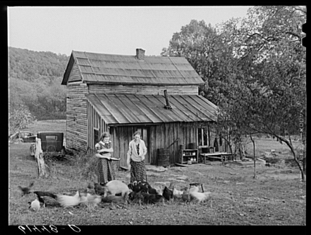 Lansing and daughter feeding chickens. They are FSA (Farm Security Administration) borrowers. Ross County, Ohio