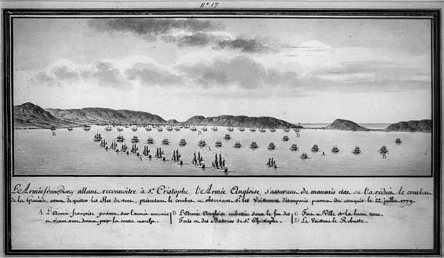 L'armée françoise allant reconnoitre à St. Cristophe, l'armée Angloise, s'assurant du mauvais etat ou l'a réduit le combat de la Grenade, avant de quitter les iles du vent, présentant le combat et observant si les vaisseaux désemparés peuvent être attaqués le 22 juillet 1779