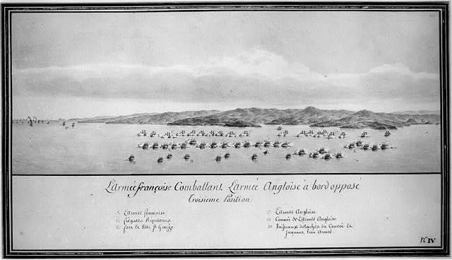 L'armée françoise combattant l'armée Angloise à bord opposé troisieme position