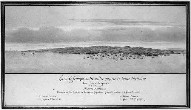 L'armée françoise Mouillée auprès de l'ance Molenieu dans l'isle de la Grenade le 6 juillet 1779