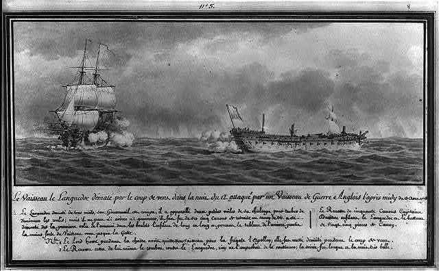 Le vaisseau le Languedoc dématé par le coup de vent dans le nuit du 12' attaqué par un vaisseau de guerre Anglois l'après midy du 13 Aoust 1778