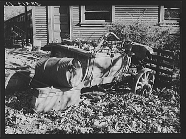 Leaves drift down on unused farm equipment. Auburn, California. This is a section which is rapidly declining because of changed market conditions.  These fruit farmers raise varieties of plums and pears that are no longer acceptable to the eastern market