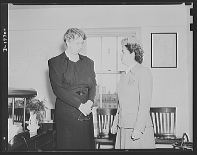 Left, Eleanor Roosevelt, Assistant Director, Office of Civilian Defense; Right, Mary K. Browne, Deputy Director in Charge of Physical Fitness, Office of Civilian Defense
