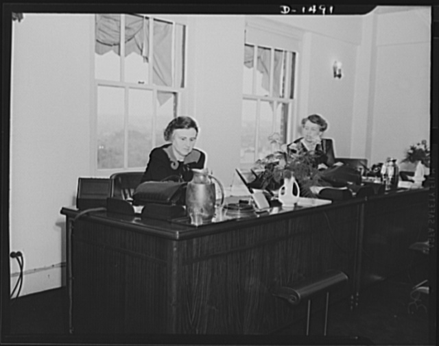Left, Mrs. Henry Morgenthau; and right, Mrs. Eleanor Roosevelt, Office of Civilian Defense