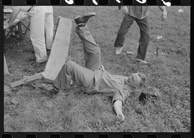 Legionnaire falls after picnic bench breaks at American Legion fish fry, Oldham County, Post 39, near Louisville, Kentucky