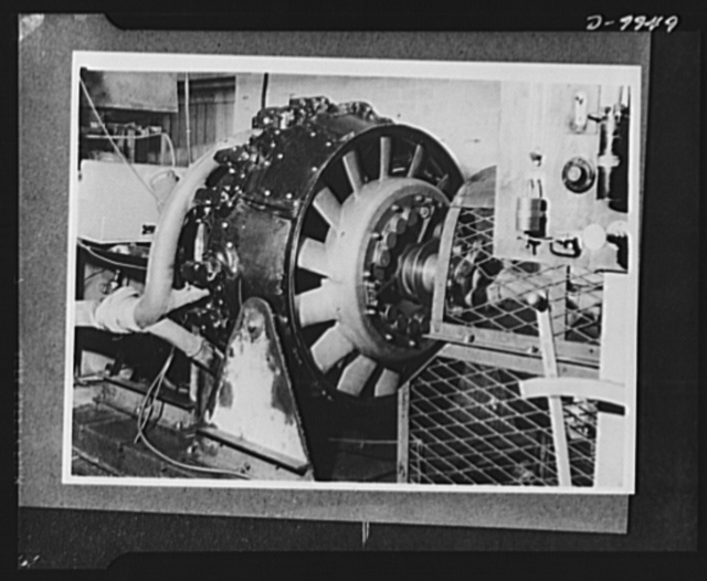 """Lend-lease to Britain. A """"Whirlwind"""" radial airplane engine on test after assembly at an English ordnance depot, part of a shipment of lend-lease material shipped by the United States"""
