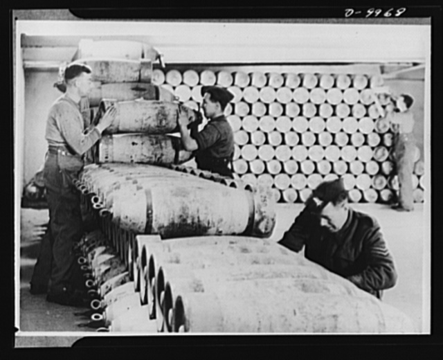 Lend-Lease to Britain. Aerial bombs of 250 tons shipped from the United States under lend-lease are stacked in a dump hewn from solid rock one hundred feet below the surface in England