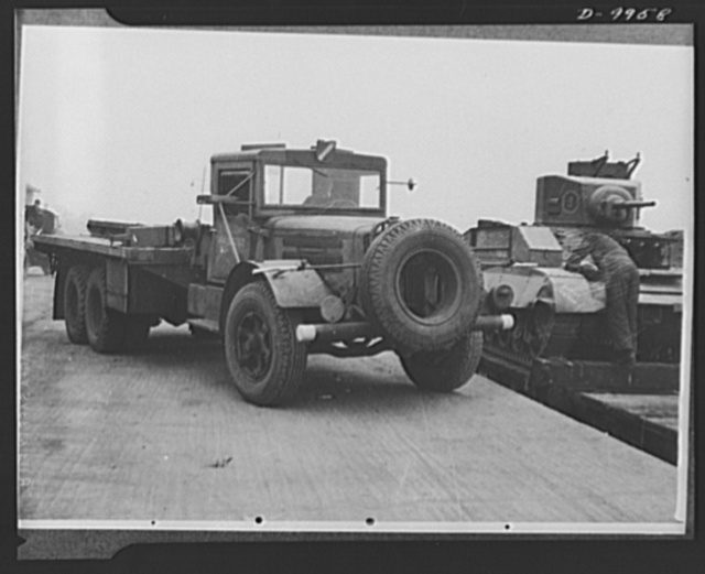 Lend-Lease to Britain. American tank transporter, shipped to England under lend-lease goes into service at a central ordnance depot in the English Midlands