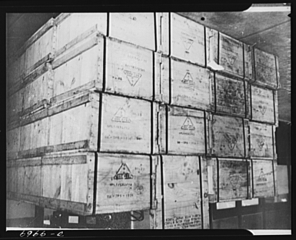 Lend-Lease to Britain. Crates of American radio sets, shipped from the United States as lend-lease arrive at a central ordnance depot in England