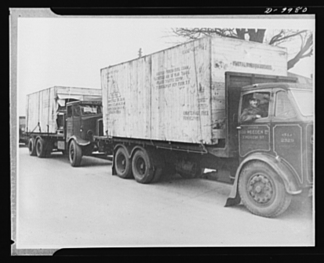 Lend-Lease to Britain. Shipment of machine tools shipped from the United States as lend-lease arrive at a central ordnance depot in England