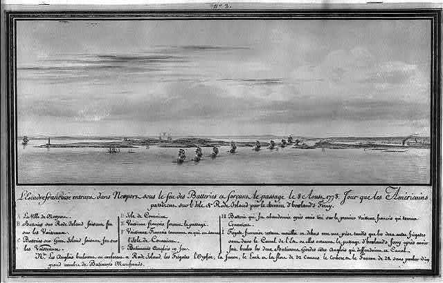 L'escadre françoise entrant dans Newport sous le feu des batteries et forcant le passage le 8 Aoust 1778