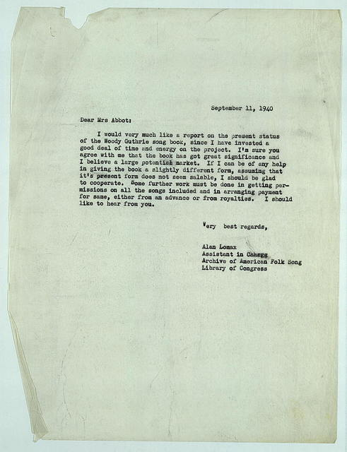 Letter from Alan Lomax to Mrs. Abbot, September 11, 1940