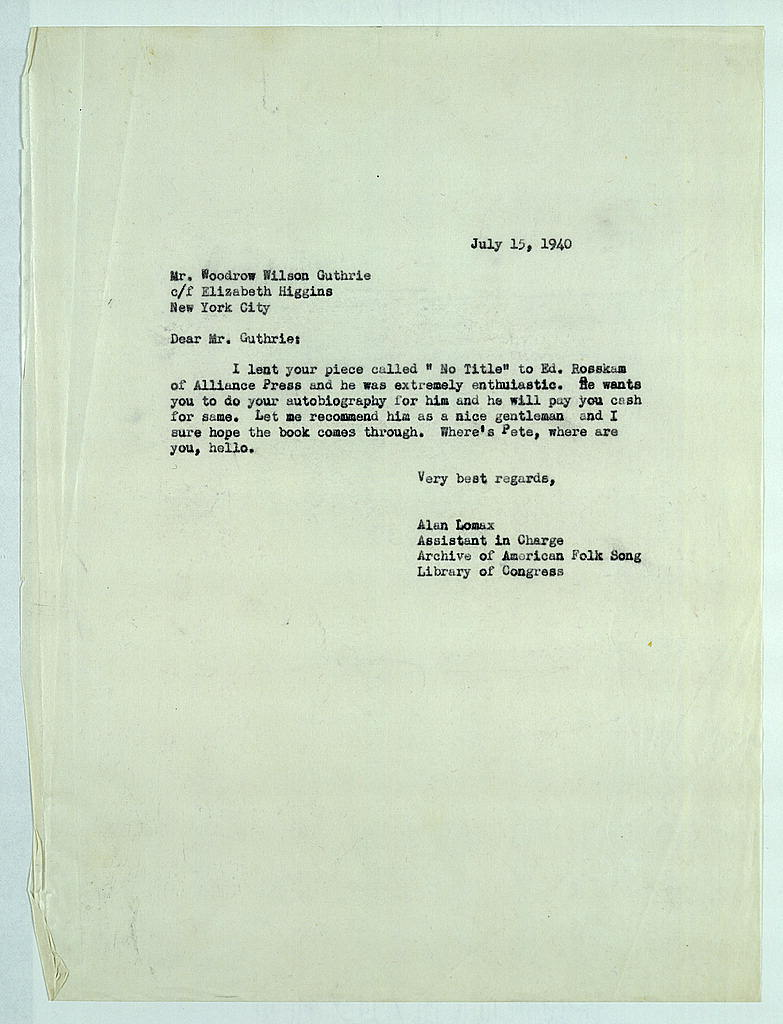 Letter from Alan Lomax to Woody Guthrie, July 15, 1940