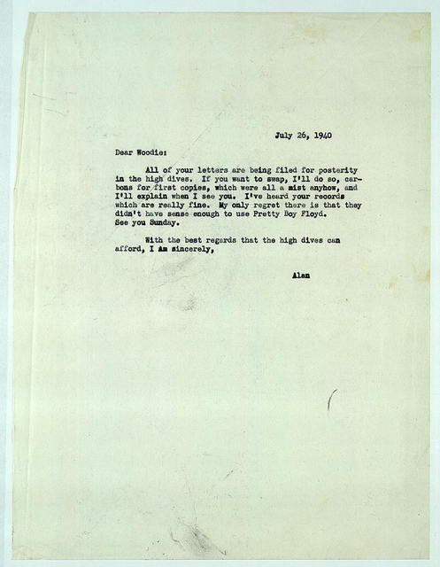 Letter from Alan Lomax to Woody Guthrie, July 26, 1940