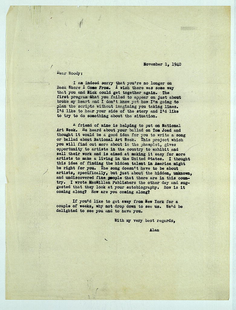Letter from Alan Lomax to Woody Guthrie, November 1, 1940
