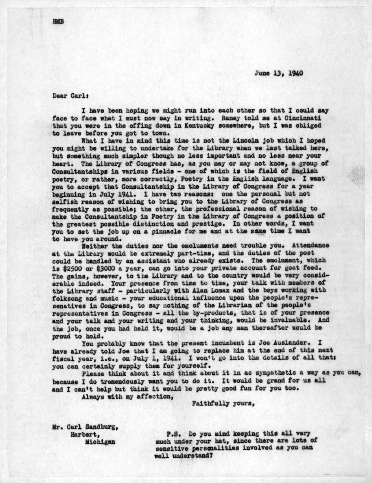 Letter from Archibald MacLeish to Carl Sandburg, June 13, 1940