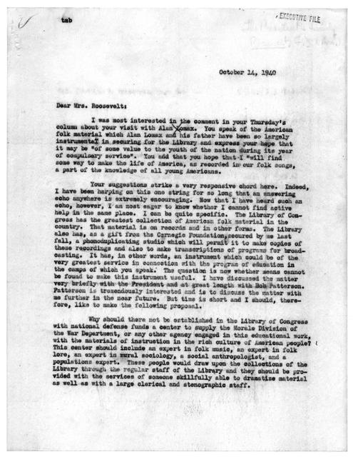 Letter from Archibald MacLeish to Eleanor Roosevelt, October 14, 1940