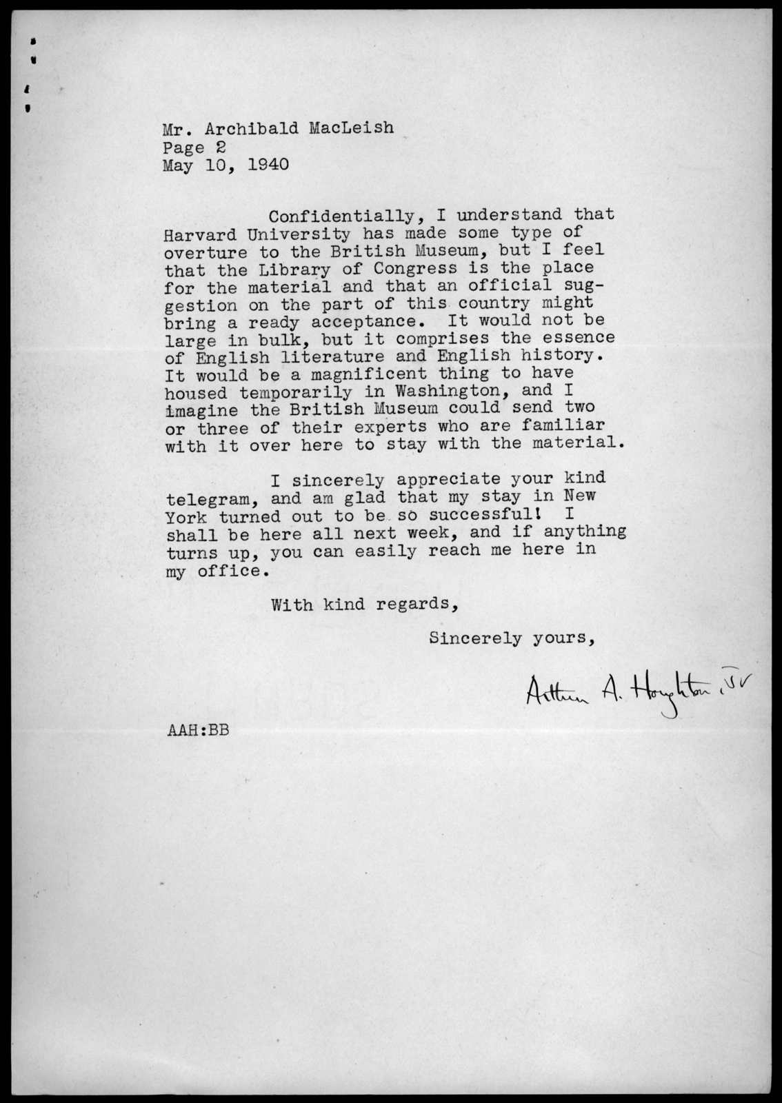 Letter from Arthur A. Houghton, Jr., to Archibald MacLeish, May 10, 1940