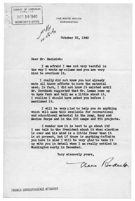 Letter from Eleanor Roosevelt to Archibald MacLeish, October 22, 1940