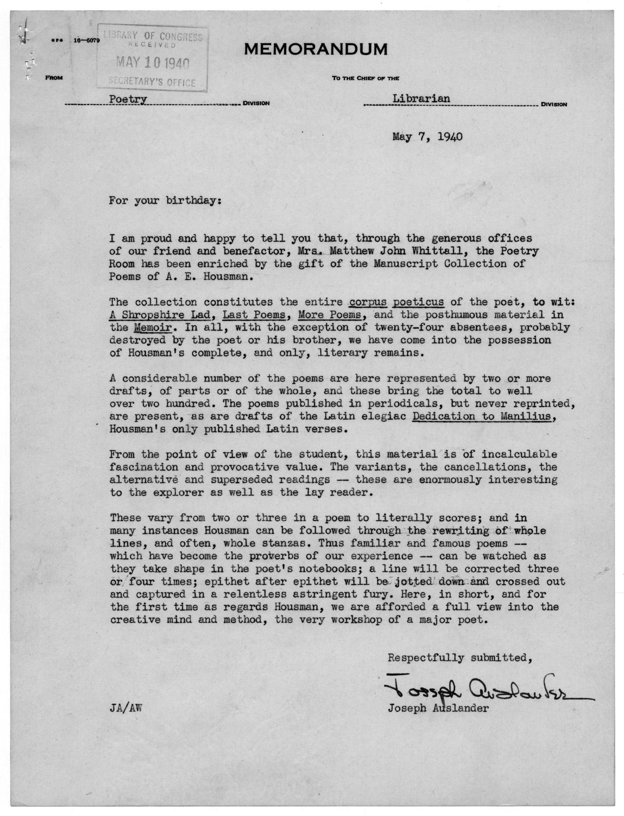 Letter from Joseph Auslander to Archibald MacLeish, May 7, 1940