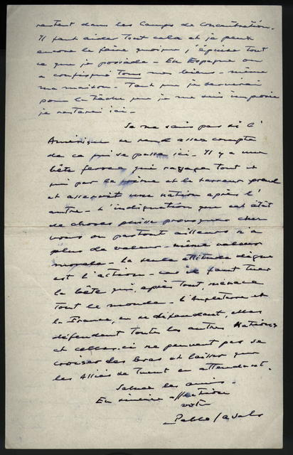 Letter from Pablo Casals to Boaz Piller, 6 May 1940