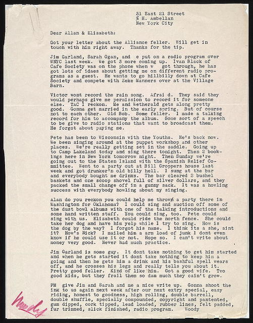 Letter from Woody Guthrie to Alan Lomax, ca. late July 1940