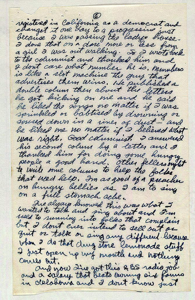 Letter from Woody Guthrie to Alan Lomax, September 19, 1940