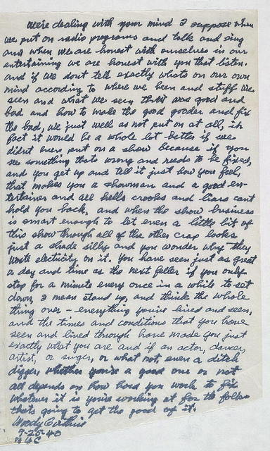 Letter from Woody Guthrie to Alan Lomax, September 25, 1940