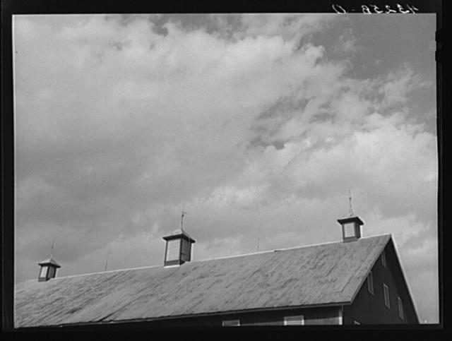Lightning rods atop barn near Rockville, Maryland