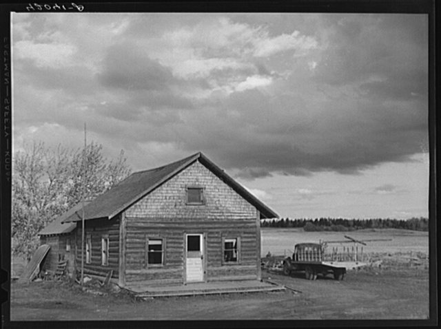 Log house occupied by French-Canadian potato farmer near Saint Agatha, Maine