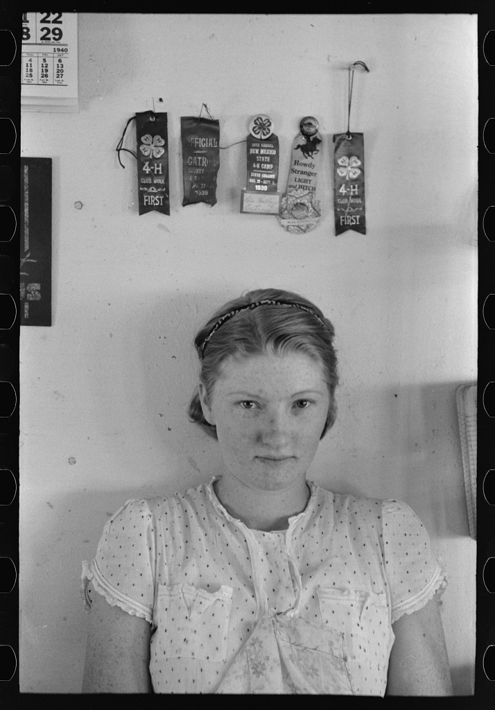 Lois Stagg who with her husband rents and runs the cafe. Both she and her husband came to New Mexico with their families from Texas. She won 4-H awards shown. Pie Town, New Mexico