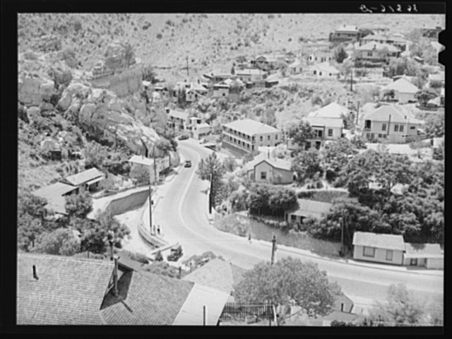 Looking down on the highway leading into Bisbee, Arizona. This highway becomes the main street in town and the houses are built up the sides of the mountain
