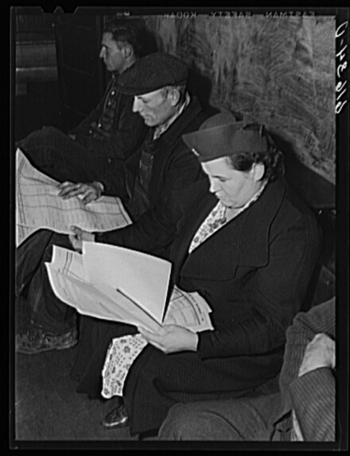 Looking over ballots, November election, 1940. McIntosh County, North Dakota