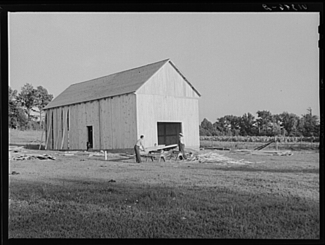 Lucas Barnes, FSA (Farm Security Administration) borrower, building a tobacco barn. Saint Mary's County, Maryland