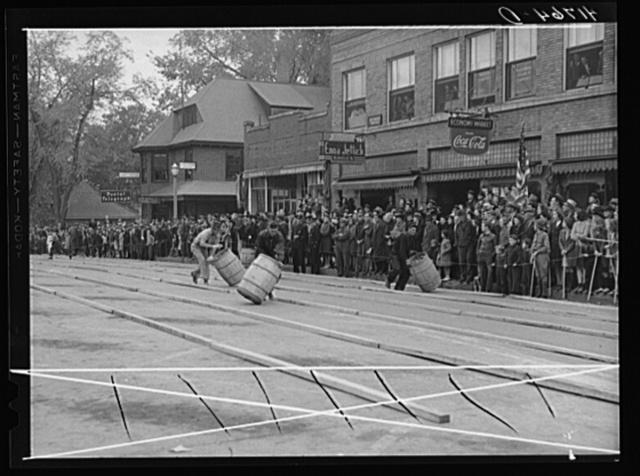Main event of the potato barrel rolling contest in Presque Isle, Maine