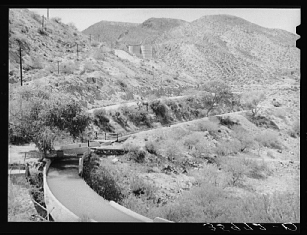 Main irrigation ditches follow the hillsides from Roosevelt Dam. Gila County, Arizona