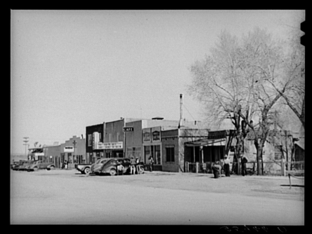 Main street in Springerville, Arizona. Springerville is the center of good ranching area where flood irrigation is used to cultivate hay crops