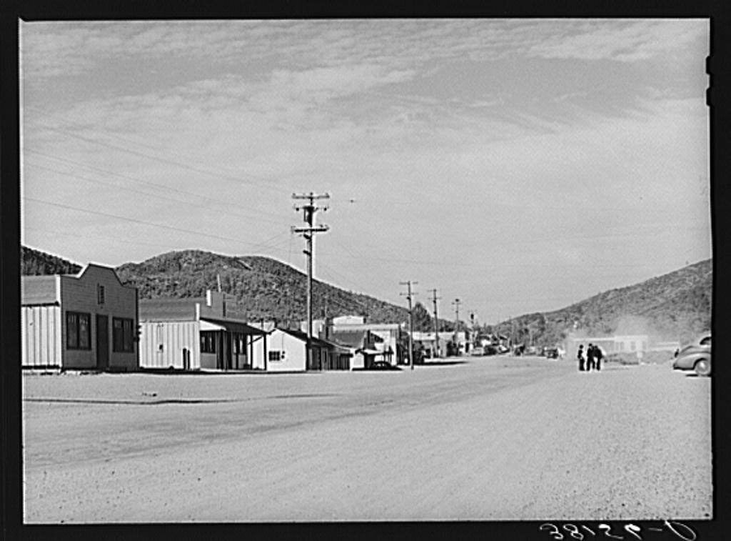 Main street of Summit City, California, boom town near Shasta Dam