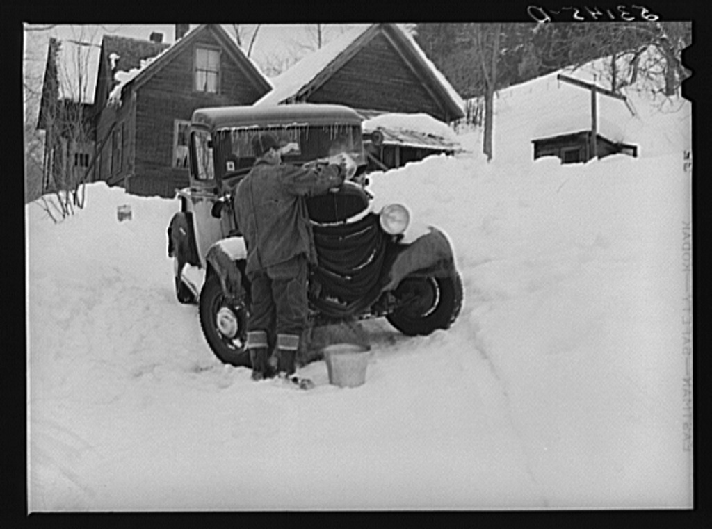Many farmers blanket their cars and let water out of radiators to prevent freezing in winter. Woodstock, Vermont